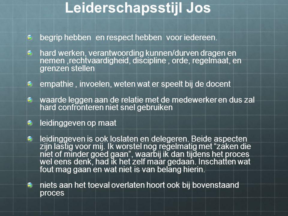 Leiderschapsstijl Jos begrip hebben en respect hebben voor iedereen.