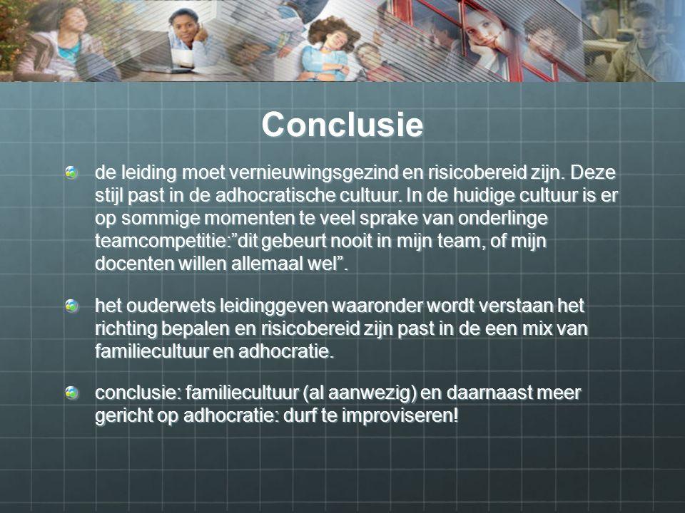 Conclusie de leiding moet vernieuwingsgezind en risicobereid zijn.