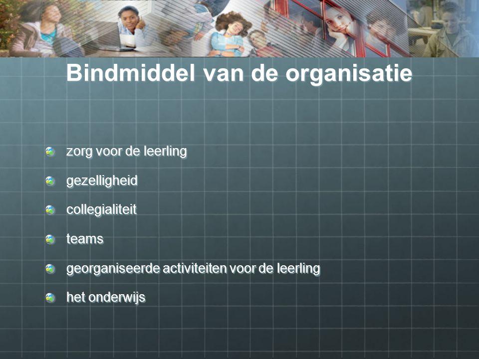 Bindmiddel van de organisatie zorg voor de leerling gezelligheidcollegialiteit teams georganiseerde activiteiten voor de leerling het onderwijs