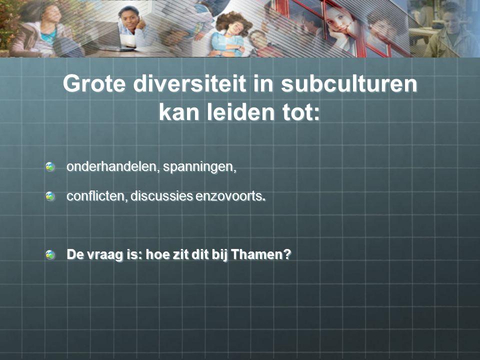 Grote diversiteit in subculturen kan leiden tot: onderhandelen, spanningen, conflicten, discussies enzovoorts.
