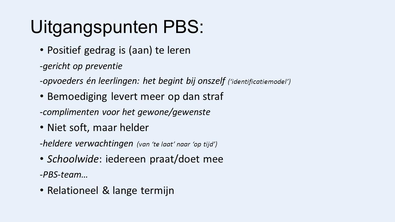 Uitgangspunten PBS: Positief gedrag is (aan) te leren -gericht op preventie -opvoeders én leerlingen: het begint bij onszelf ('identificatiemodel') Bemoediging levert meer op dan straf -complimenten voor het gewone/gewenste Niet soft, maar helder -heldere verwachtingen (van 'te laat' naar 'op tijd') Schoolwide: iedereen praat/doet mee -PBS-team… Relationeel & lange termijn