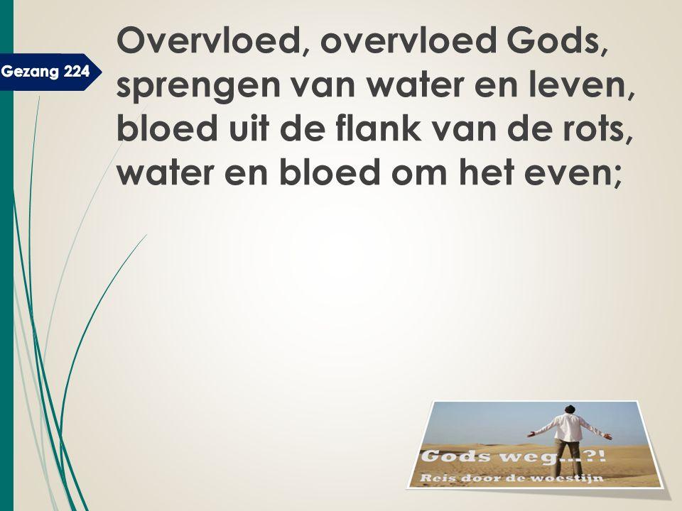 Overvloed, overvloed Gods, sprengen van water en leven, bloed uit de flank van de rots, water en bloed om het even;