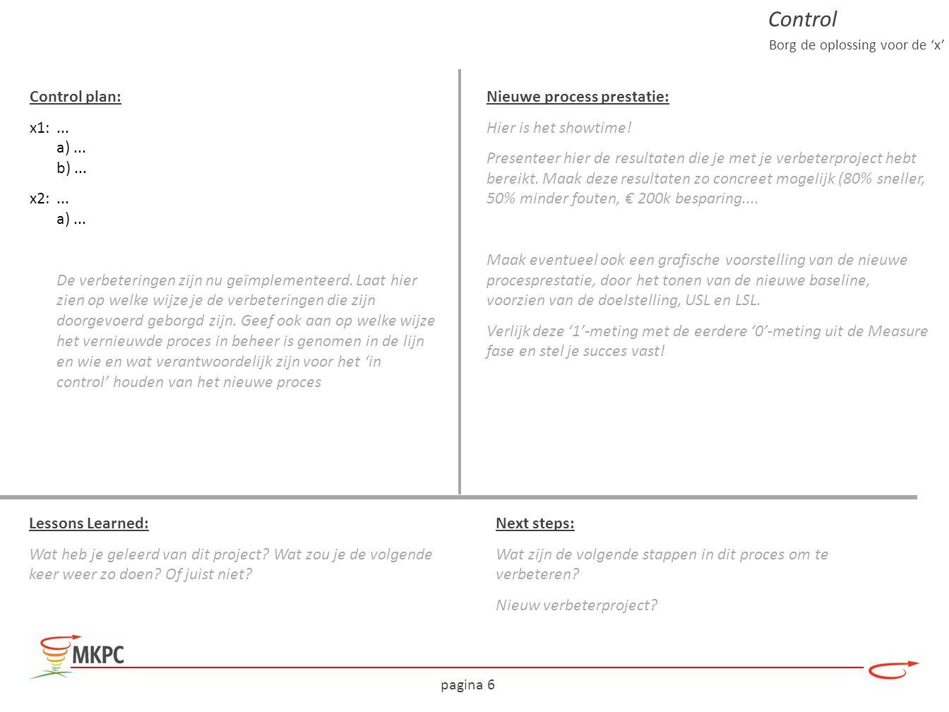 pagina 6 Control plan: x1:... a)... b)... x2:... a)... De verbeteringen zijn nu geïmplementeerd. Laat hier zien op welke wijze je de verbeteringen die