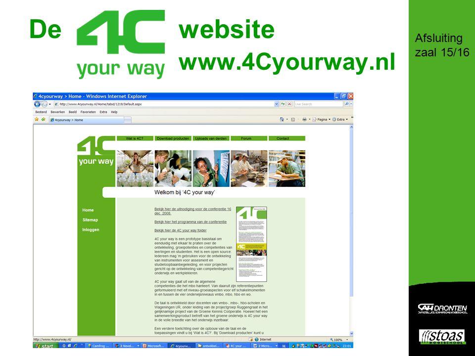 De website www.4Cyourway.nl Afsluiting zaal 15/16