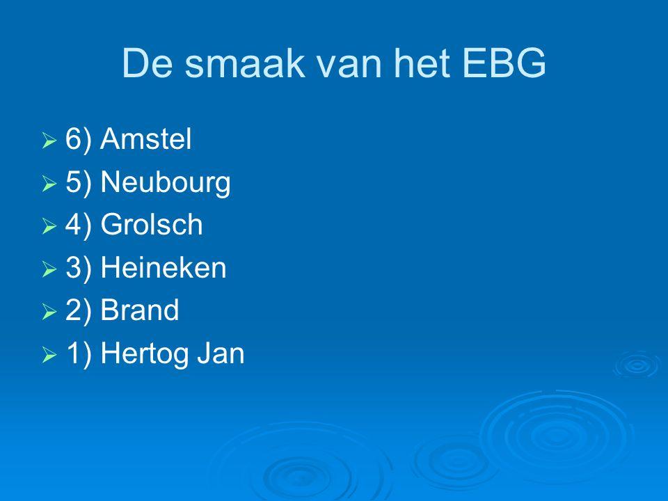 De smaak van het EBG   6) Amstel   5) Neubourg   4) Grolsch   3) Heineken   2) Brand   1) Hertog Jan