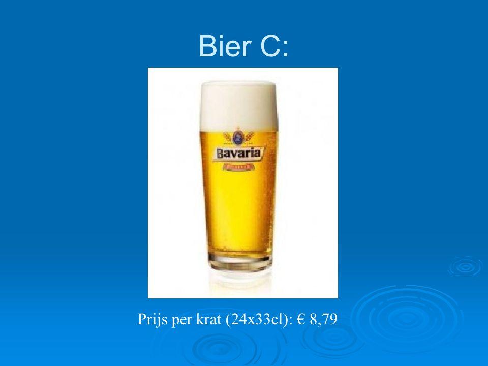Bier C: Prijs per krat (24x33cl): € 8,79