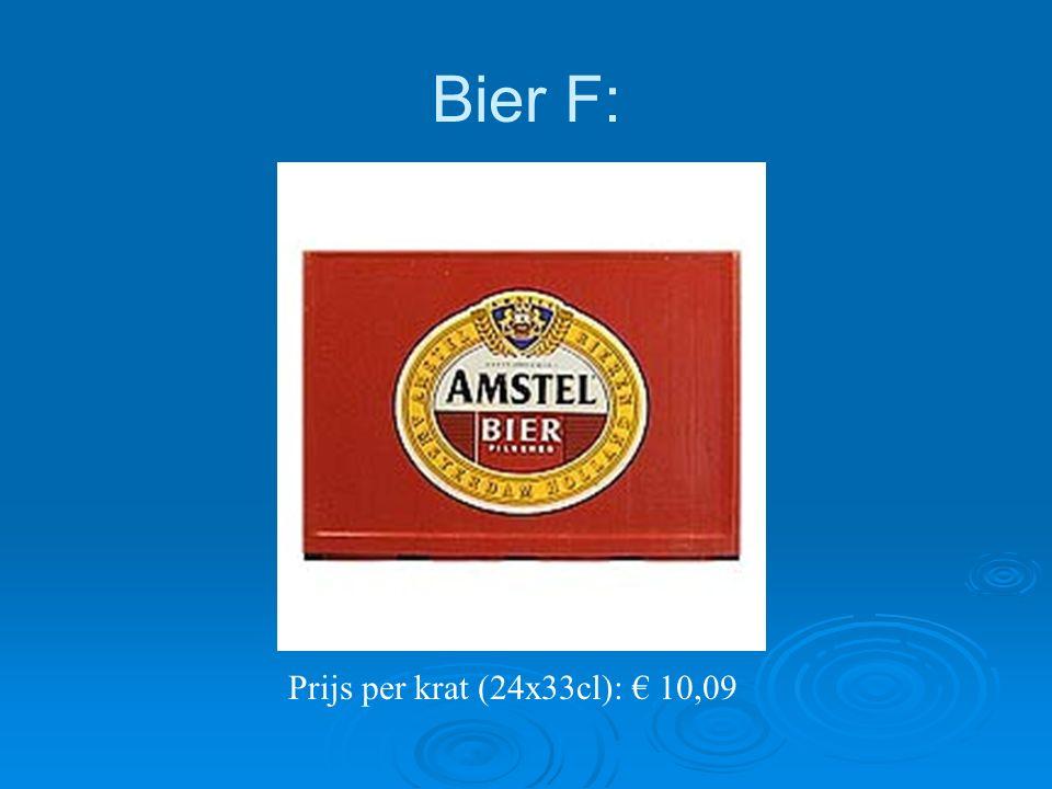 Bier F: Prijs per krat (24x33cl): € 10,09