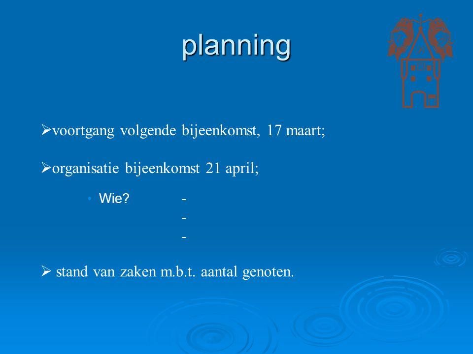 planning  voortgang volgende bijeenkomst, 17 maart;  organisatie bijeenkomst 21 april; Wie?- -  stand van zaken m.b.t. aantal genoten.
