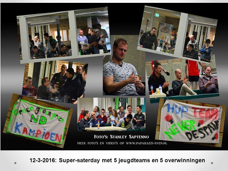12-3-2016: Super-saterday met 5 jeugdteams en 5 overwinningen