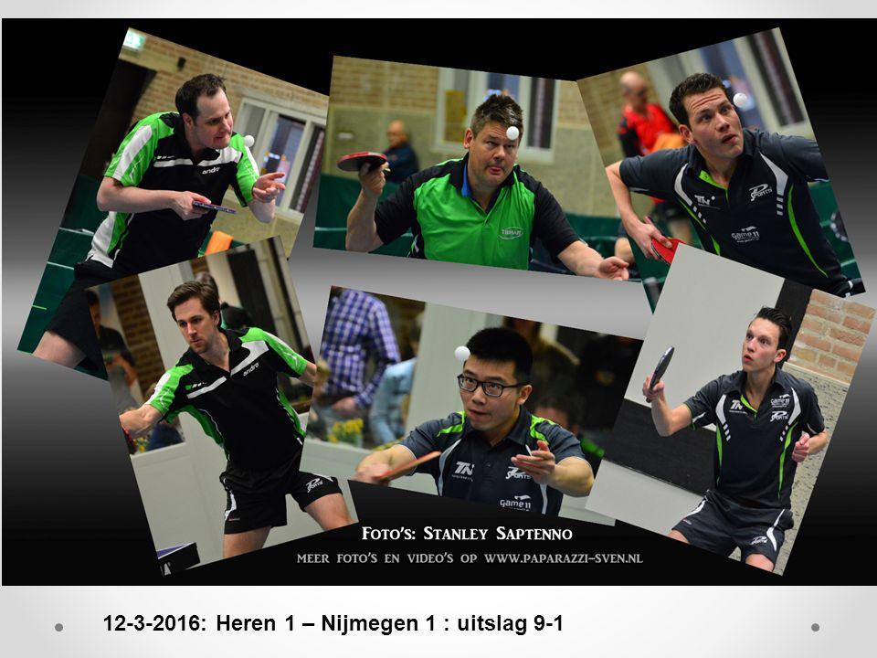 12-3-2016: Heren 1 – Nijmegen 1 : uitslag 9-1