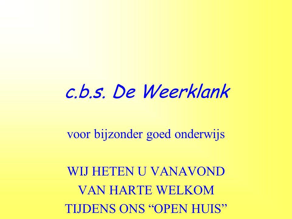 """c.b.s. De Weerklank voor bijzonder goed onderwijs WIJ HETEN U VANAVOND VAN HARTE WELKOM TIJDENS ONS """"OPEN HUIS"""""""