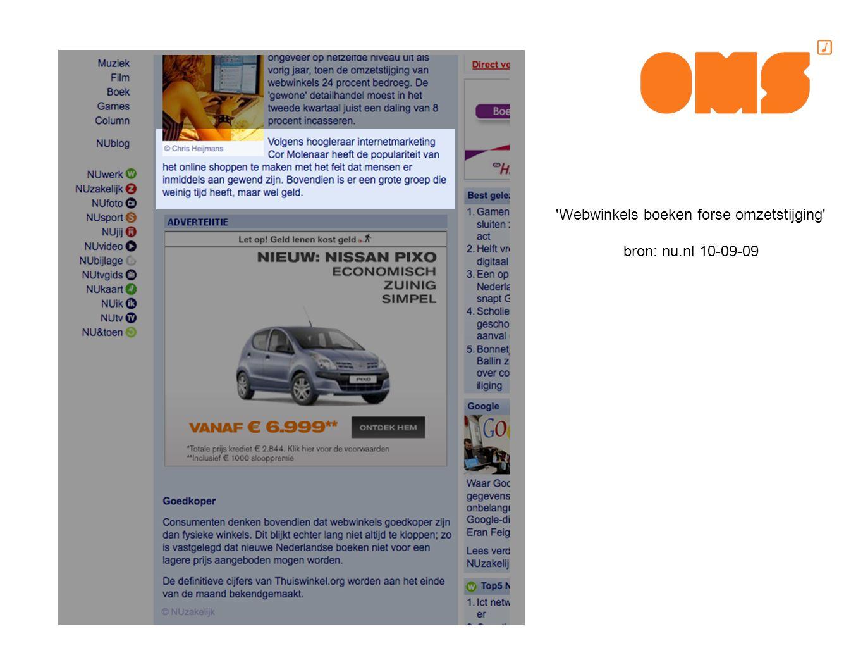 Webwinkels boeken forse omzetstijging bron: nu.nl 10-09-09