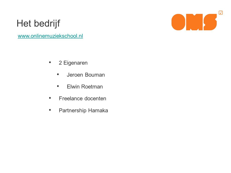 2 Eigenaren Jeroen Bouman Elwin Roetman Freelance docenten Partnership Hamaka Het bedrijf www.onlinemuziekschool.nl