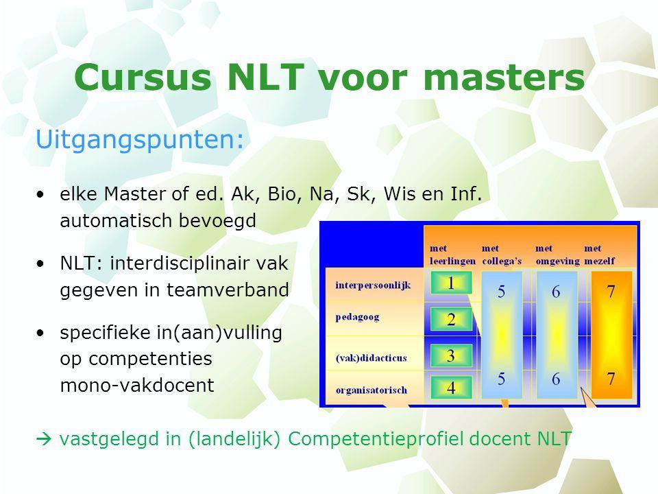 Cursus NLT voor masters Uitgangspunten: elke Master of ed. Ak, Bio, Na, Sk, Wis en Inf. automatisch bevoegd NLT: interdisciplinair vak gegeven in team