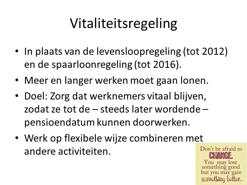 Vitaliteitsregeling In plaats van de levensloopregeling (tot 2012) en de spaarloonregeling (tot 2016). Meer en langer werken moet gaan lonen. Doel: Zo