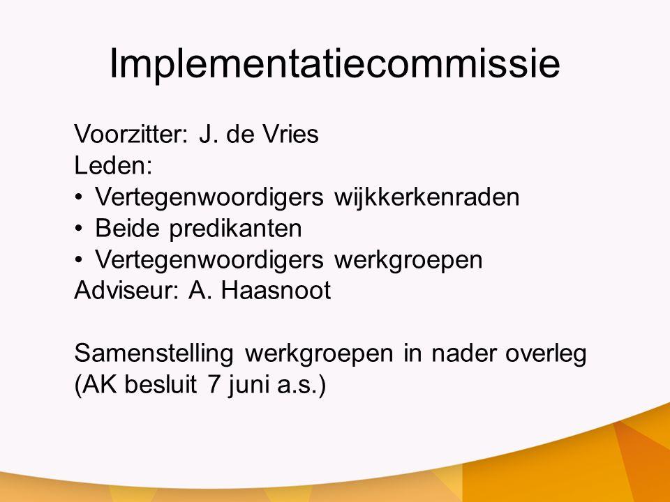 Implementatiecommissie Voorzitter: J.