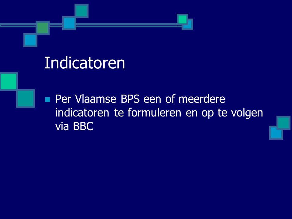 Indicatoren Per Vlaamse BPS een of meerdere indicatoren te formuleren en op te volgen via BBC