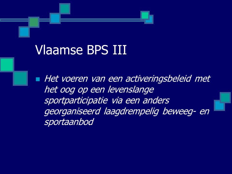 Vlaamse BPS III Het voeren van een activeringsbeleid met het oog op een levenslange sportparticipatie via een anders georganiseerd laagdrempelig beweeg- en sportaanbod
