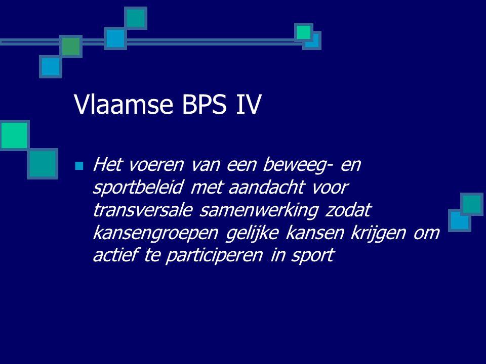 Vlaamse BPS IV Het voeren van een beweeg- en sportbeleid met aandacht voor transversale samenwerking zodat kansengroepen gelijke kansen krijgen om actief te participeren in sport