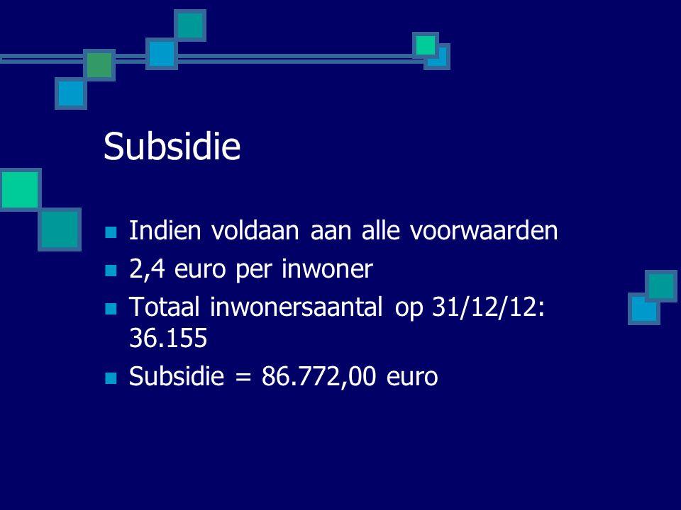 Subsidie Indien voldaan aan alle voorwaarden 2,4 euro per inwoner Totaal inwonersaantal op 31/12/12: 36.155 Subsidie = 86.772,00 euro