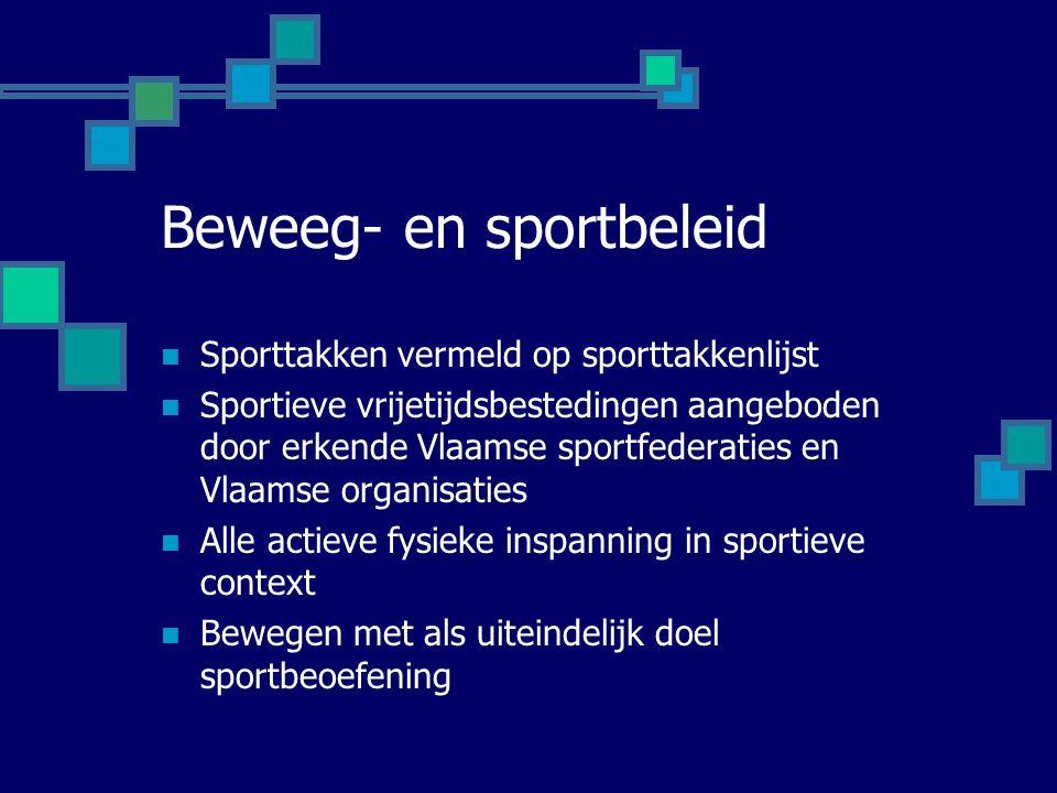 Beweeg- en sportbeleid Sporttakken vermeld op sporttakkenlijst Sportieve vrijetijdsbestedingen aangeboden door erkende Vlaamse sportfederaties en Vlaamse organisaties Alle actieve fysieke inspanning in sportieve context Bewegen met als uiteindelijk doel sportbeoefening