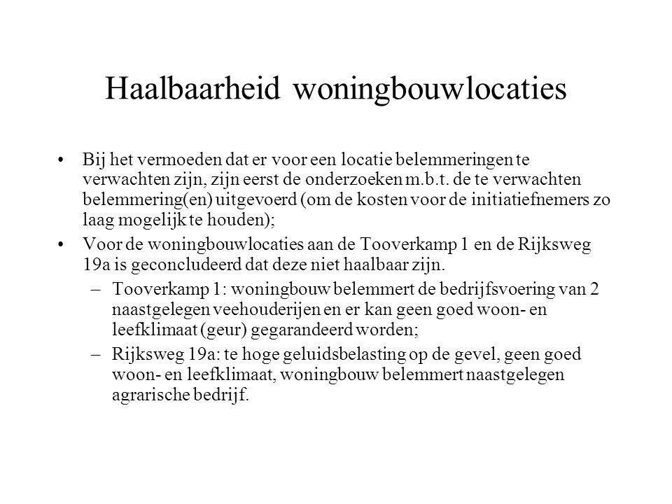 Haalbaarheid woningbouwlocaties Bij het vermoeden dat er voor een locatie belemmeringen te verwachten zijn, zijn eerst de onderzoeken m.b.t.