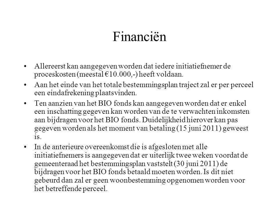 Financiën Allereerst kan aangegeven worden dat iedere initiatiefnemer de proceskosten (meestal €10.000,-) heeft voldaan.