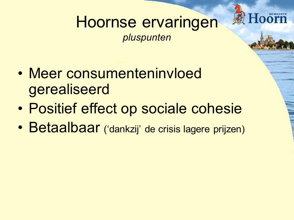Hoornse ervaringen pluspunten Meer consumenteninvloed gerealiseerd Positief effect op sociale cohesie Betaalbaar ('dankzij' de crisis lagere prijzen)