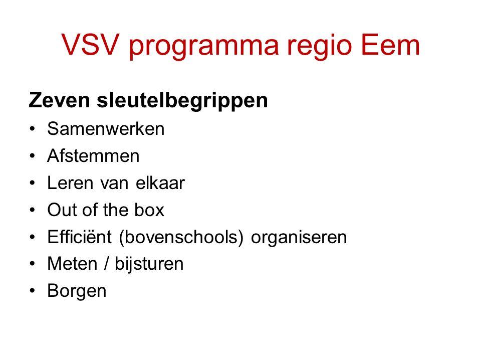 VSV programma regio Eem Zeven sleutelbegrippen Samenwerken Afstemmen Leren van elkaar Out of the box Efficiënt (bovenschools) organiseren Meten / bijsturen Borgen
