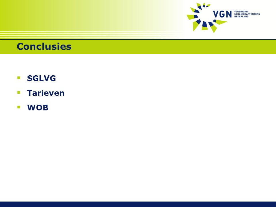 Conclusies  SGLVG  Tarieven  WOB