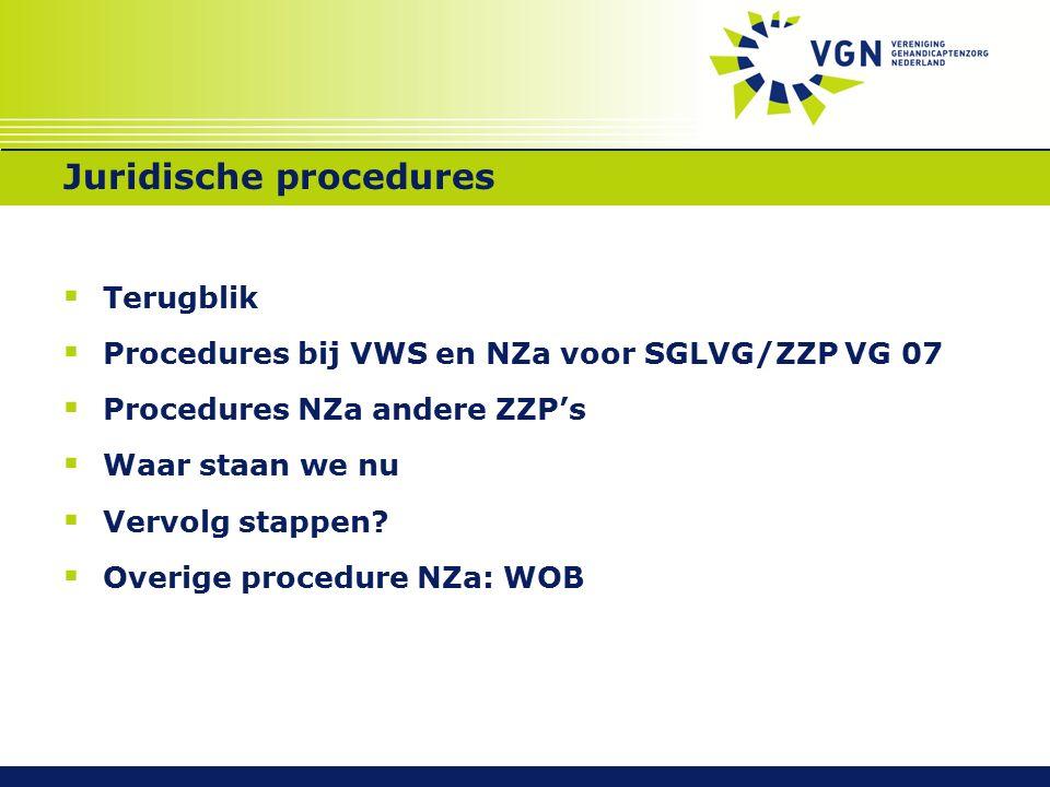 Juridische procedures  Terugblik  Procedures bij VWS en NZa voor SGLVG/ZZP VG 07  Procedures NZa andere ZZP's  Waar staan we nu  Vervolg stappen.
