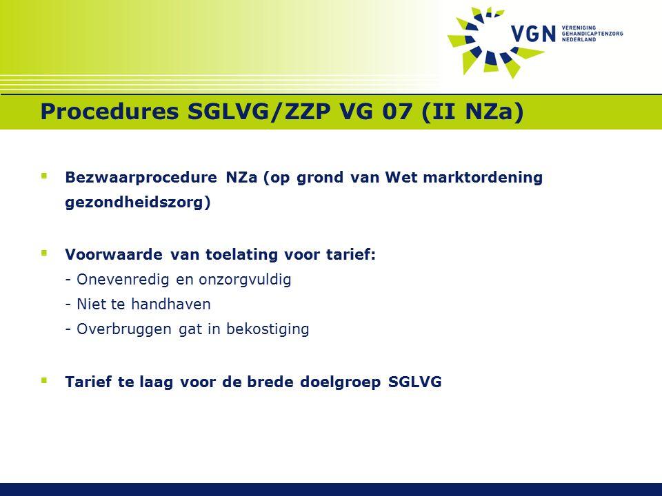 Procedures SGLVG/ZZP VG 07 (II NZa)  Bezwaarprocedure NZa (op grond van Wet marktordening gezondheidszorg)  Voorwaarde van toelating voor tarief: - Onevenredig en onzorgvuldig - Niet te handhaven - Overbruggen gat in bekostiging  Tarief te laag voor de brede doelgroep SGLVG