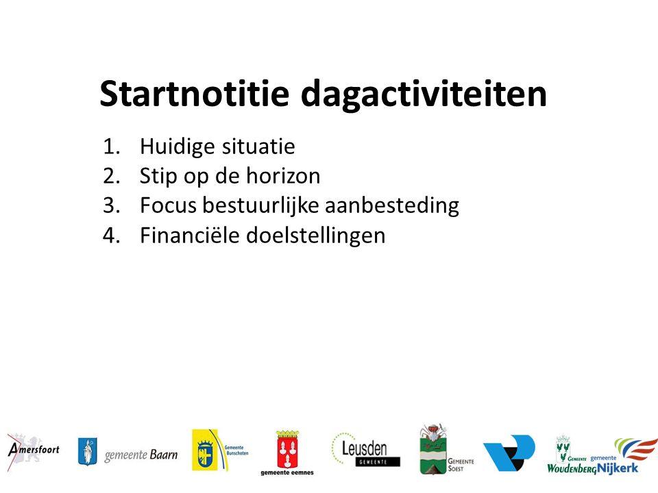 Startnotitie dagactiviteiten 1.Huidige situatie 2.Stip op de horizon 3.Focus bestuurlijke aanbesteding 4.Financiële doelstellingen