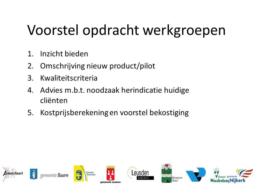 Voorstel opdracht werkgroepen 1.Inzicht bieden 2.Omschrijving nieuw product/pilot 3.Kwaliteitscriteria 4.Advies m.b.t. noodzaak herindicatie huidige c
