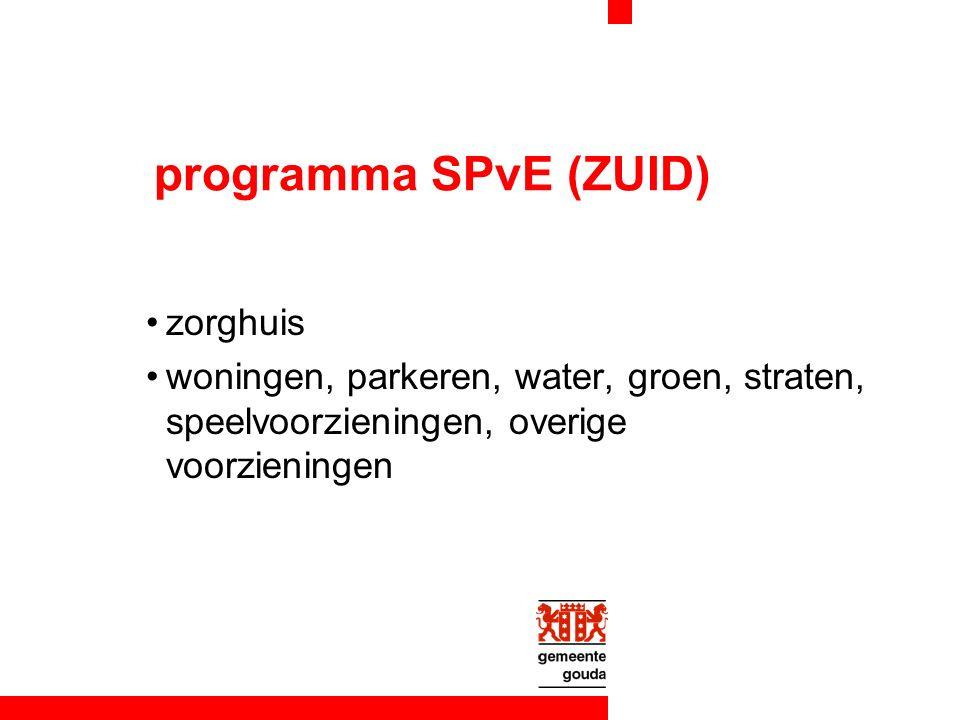 programma SPvE (ZUID) zorghuis woningen, parkeren, water, groen, straten, speelvoorzieningen, overige voorzieningen