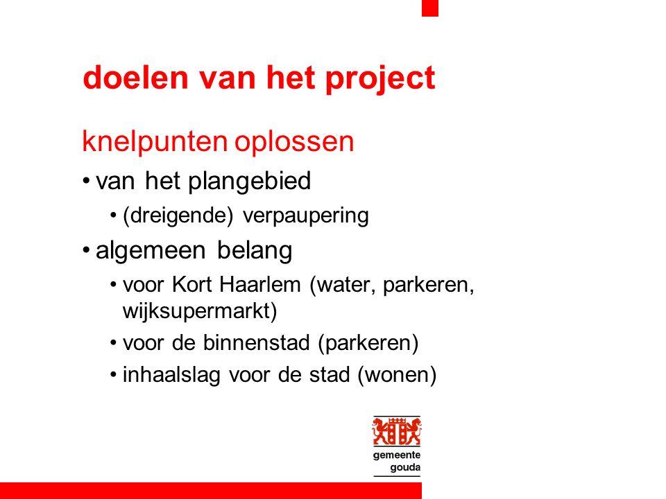 doelen van het project knelpunten oplossen van het plangebied (dreigende) verpaupering algemeen belang voor Kort Haarlem (water, parkeren, wijksupermarkt) voor de binnenstad (parkeren) inhaalslag voor de stad (wonen)