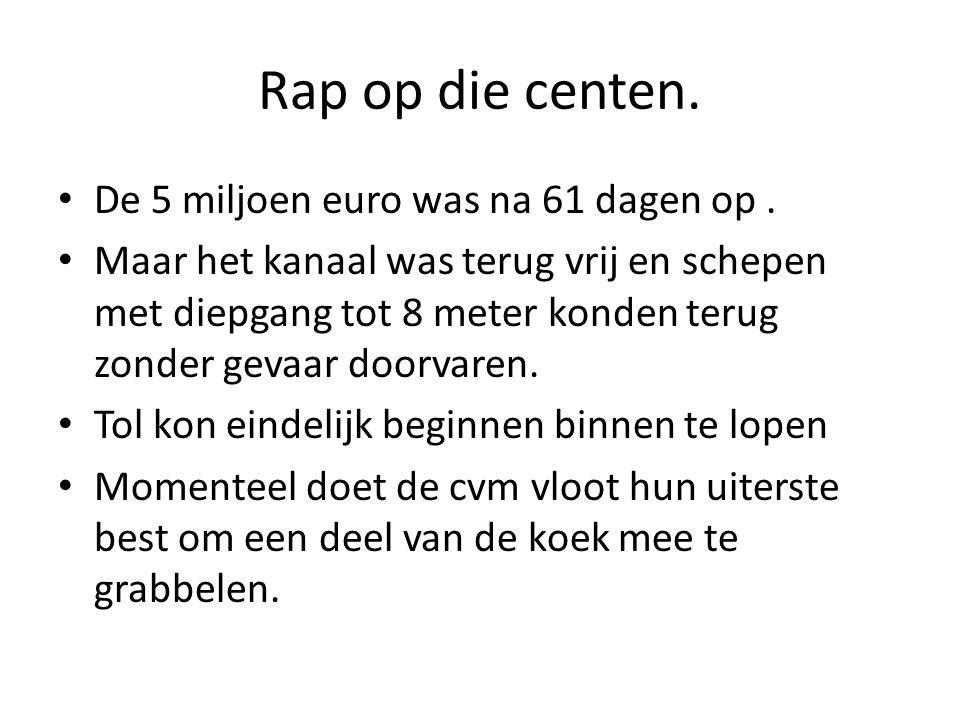 Rap op die centen. De 5 miljoen euro was na 61 dagen op.