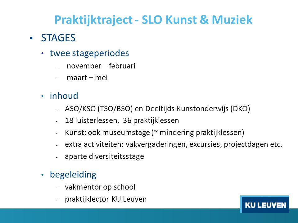 Praktijktraject - SLO Kunst & Muziek  STAGES twee stageperiodes - november – februari - maart – mei inhoud - ASO/KSO (TSO/BSO) en Deeltijds Kunstonde
