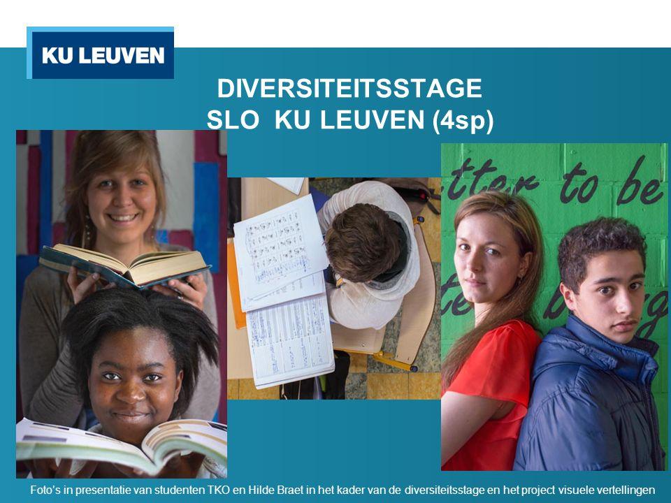 DIVERSITEITSSTAGE SLO KU LEUVEN (4sp) Foto's in presentatie van studenten TKO en Hilde Braet in het kader van de diversiteitsstage en het project visu