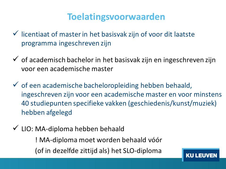 Toelatingsvoorwaarden licentiaat of master in het basisvak zijn of voor dit laatste programma ingeschreven zijn of academisch bachelor in het basisvak