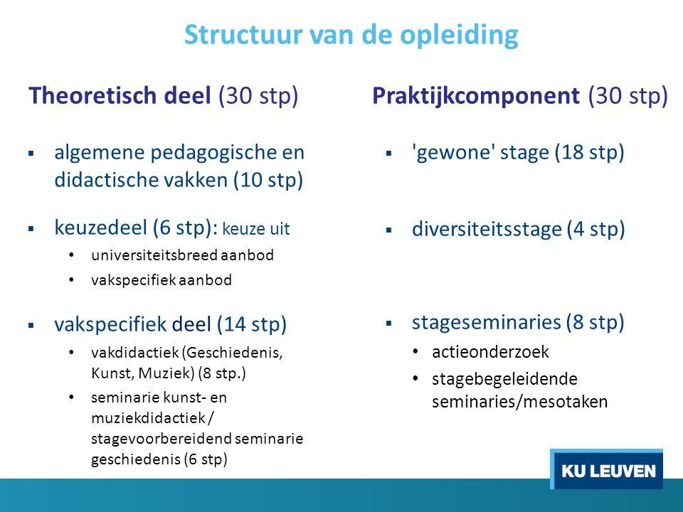Structuur van de opleiding Theoretisch deel (30 stp)  algemene pedagogische en didactische vakken (10 stp)  keuzedeel (6 stp): keuze uit universitei