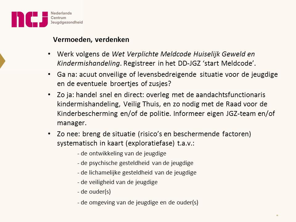 Vermoeden, verdenken * Werk volgens de Wet Verplichte Meldcode Huiselijk Geweld en Kindermishandeling.