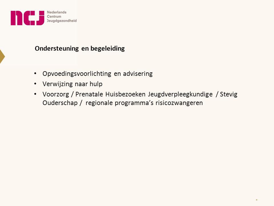 Ondersteuning en begeleiding Opvoedingsvoorlichting en advisering Verwijzing naar hulp Voorzorg / Prenatale Huisbezoeken Jeugdverpleegkundige / Stevig Ouderschap / regionale programma's risicozwangeren *