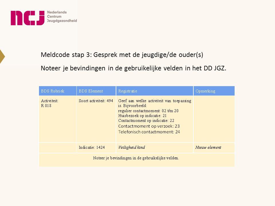 Meldcode stap 3: Gesprek met de jeugdige/de ouder(s) Noteer je bevindingen in de gebruikelijke velden in het DD JGZ.