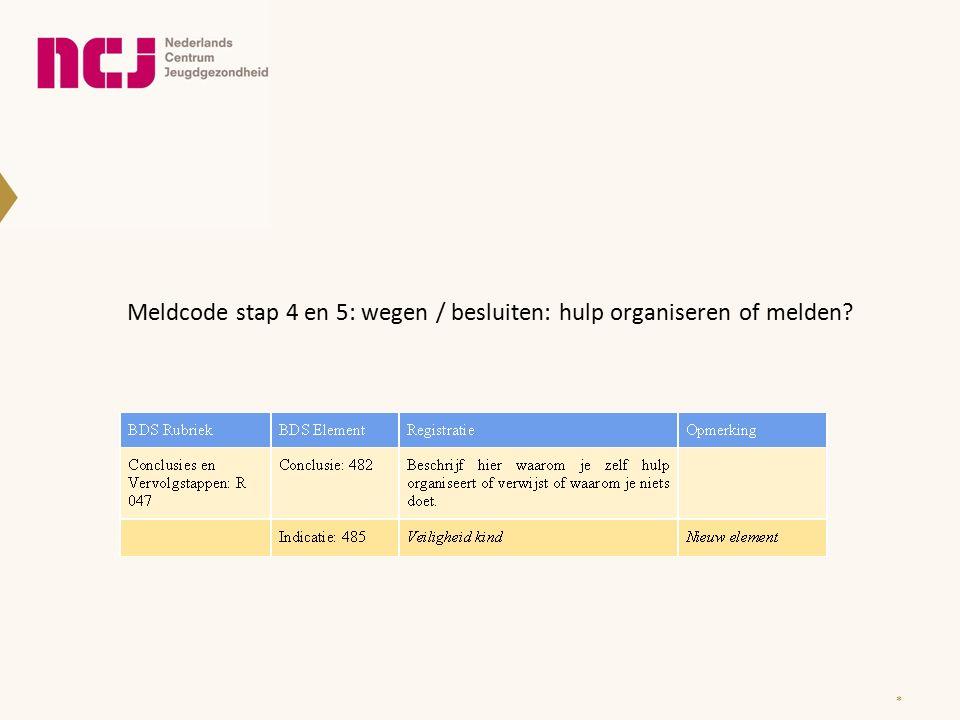 * Meldcode stap 4 en 5: wegen / besluiten: hulp organiseren of melden?