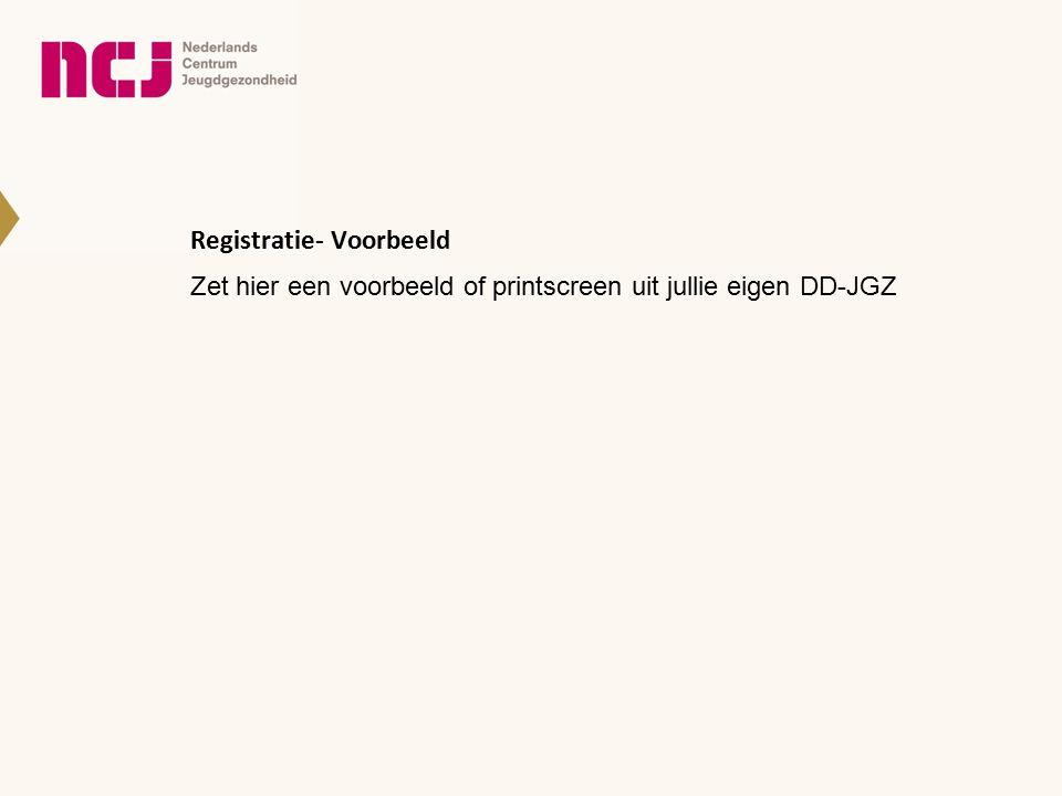 Registratie- Voorbeeld Zet hier een voorbeeld of printscreen uit jullie eigen DD-JGZ