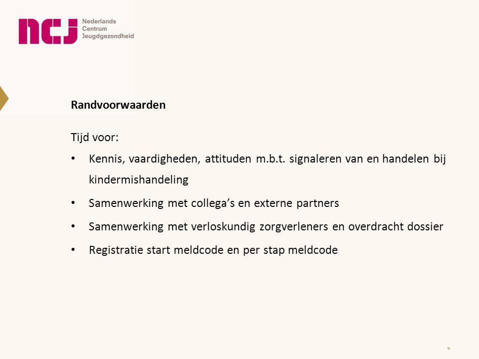 Randvoorwaarden Tijd voor: Kennis, vaardigheden, attituden m.b.t. signaleren van en handelen bij kindermishandeling Samenwerking met collega's en exte