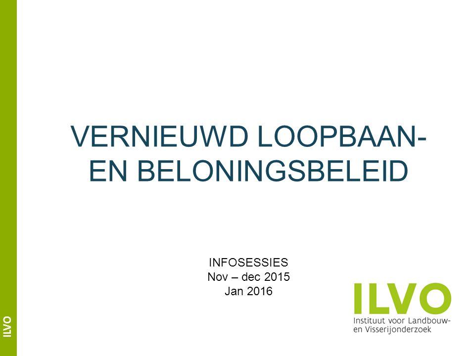 ILVO VERNIEUWD LOOPBAAN- EN BELONINGSBELEID INFOSESSIES Nov – dec 2015 Jan 2016