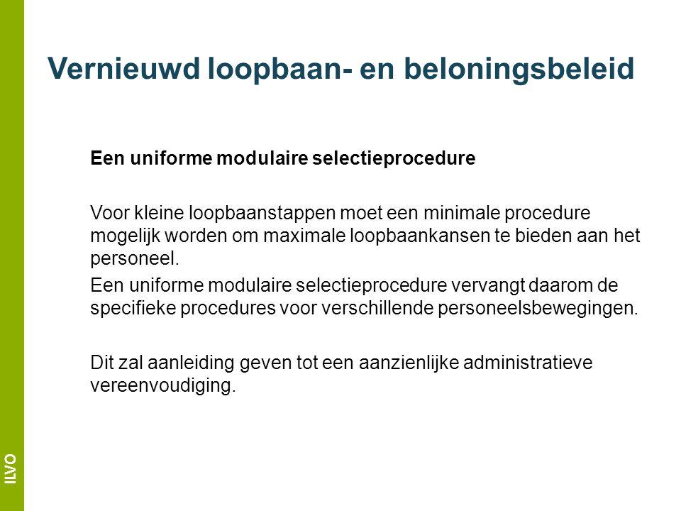 ILVO Vernieuwd loopbaan- en beloningsbeleid Een uniforme modulaire selectieprocedure Voor kleine loopbaanstappen moet een minimale procedure mogelijk worden om maximale loopbaankansen te bieden aan het personeel.