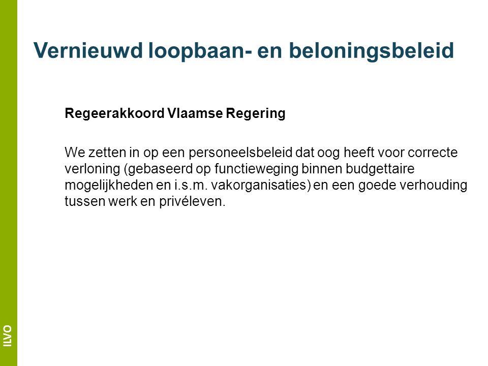 ILVO Regeerakkoord Vlaamse Regering We zetten in op een personeelsbeleid dat oog heeft voor correcte verloning (gebaseerd op functieweging binnen budgettaire mogelijkheden en i.s.m.